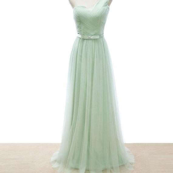 One Shoulder A-line Long Prom Dress in Mint Green