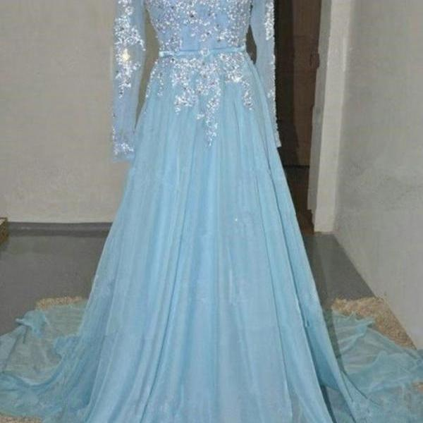 Long Sleeves Chiffon Prom Dresses Scoop Neck Appliques Party Dresses