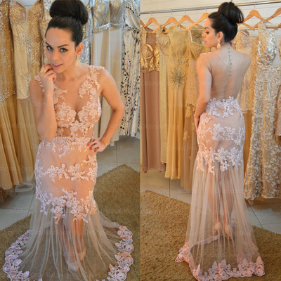 Mermaid Tulle Beige Prom Dresses Women's Long Appliques formal dress