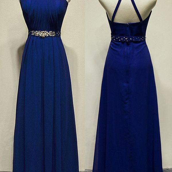 Royal Blue Long Chiffon Prom Dresses High Neck Beaded Party Dresses