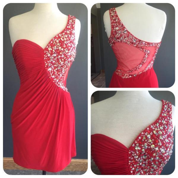Women's Short Red Chiffon Prom Dress One Shoulder beaded Party Dress