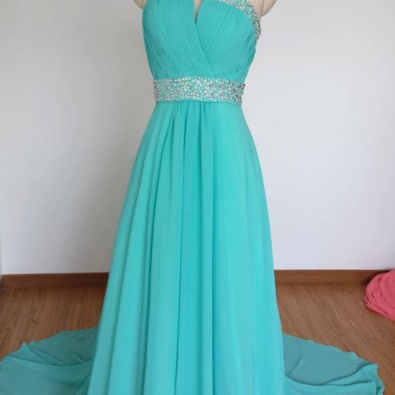 Long Chiffon Prom Dresses One Shoulder Crystals Beaded Party Dresses