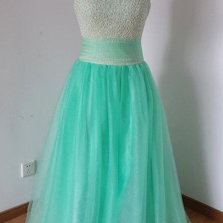 Strapless Green tulle Prom Dresses Beaded Party Dresses