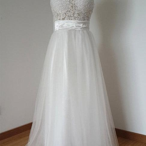 White Long Tulle Prom Dresses Lace Appliques Party Dresses