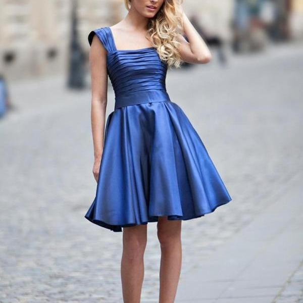 Straps Above Knee Satin Homecoming Dresses Royal Blue Party Dress