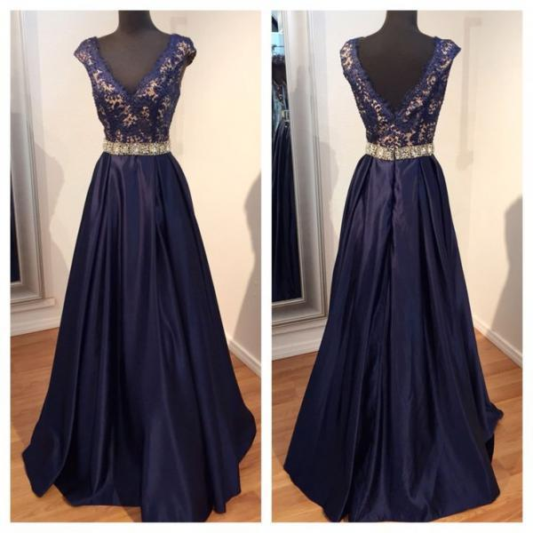 Dark Navy Long Satin Prom Dresses V-neck Appliques Custom Made Floor Length Party Dresses