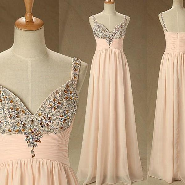 Spaghetti Straps A-line Beaded Chiffon Long Prom Dress with Plunging V-neck
