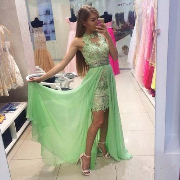 High Neck Long Chiffon Prom Dresses Appliques Lace Floor Length Party Dresses Tailor Made Women Dresses