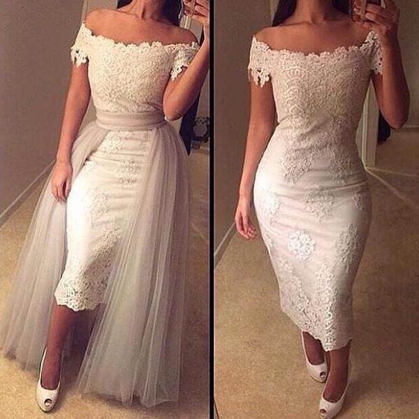 Scoop Neck Charming Lace Prom Dresses Appliques Mermaid Party Dresses with Tulle decoration