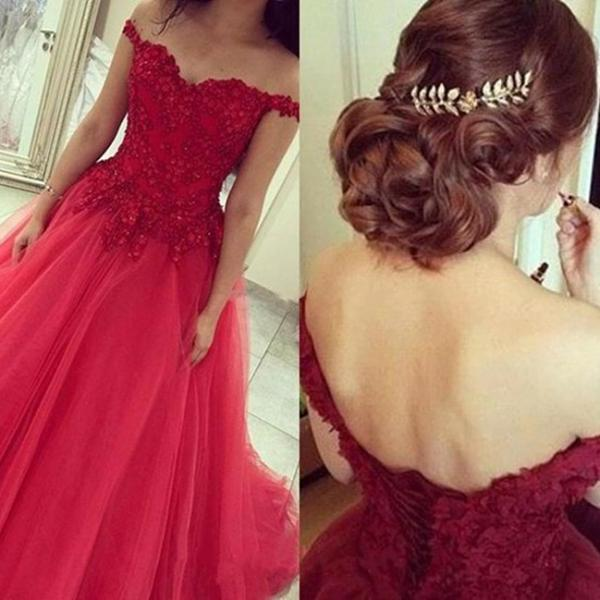 Off the Shoulder Tulle Lace Appliques Red Prom Dresses Court Train Lace-up Party Dresses