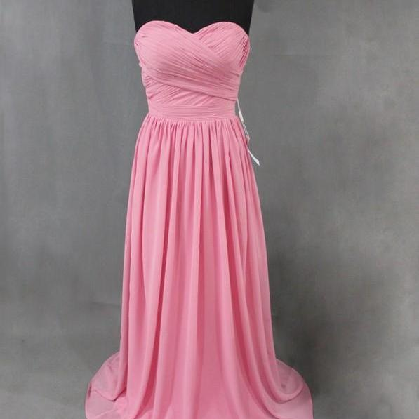 Sweetheart Neck Long Chiffon Evening Dresses Pleat Floor Length Party Dresses