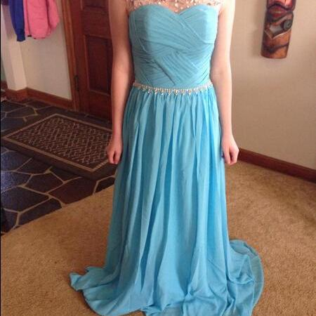 Scoop Neck A-line long Chiffon Prom Dresses Crystals Floor Length Party Dresses