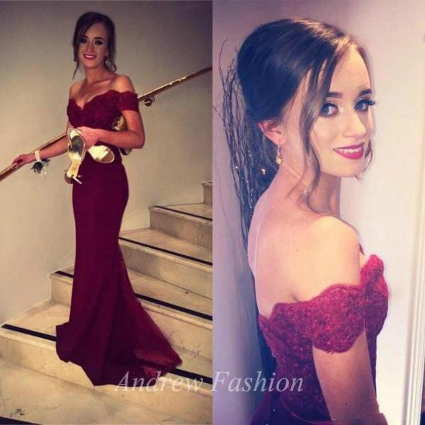 Off the Shoulder Chiffon Burgundy Prom Dresses Floor Length Party Dresses Lace Party Dresses
