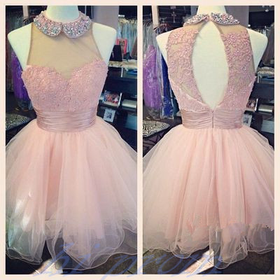 Lovely Short Tulle Pink Homecoming Dresses Crystal Beaded Party Dresses