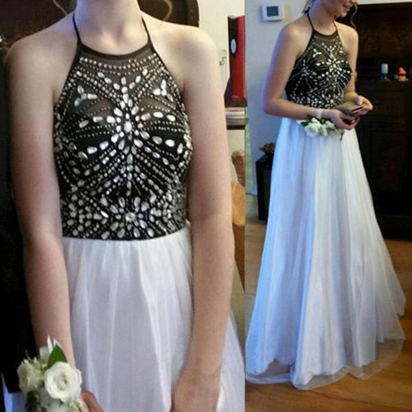 Women's  Halter Neck Long Tulle White Prom Dresses Floor Length party Dresses Crystals