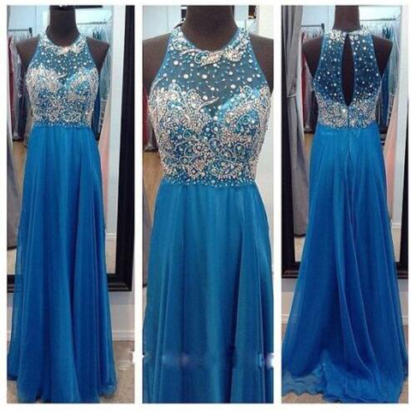 Women's Long Chiffon Blue Prom Dresses Scoop Neck Beaded Floor Length party Dresses