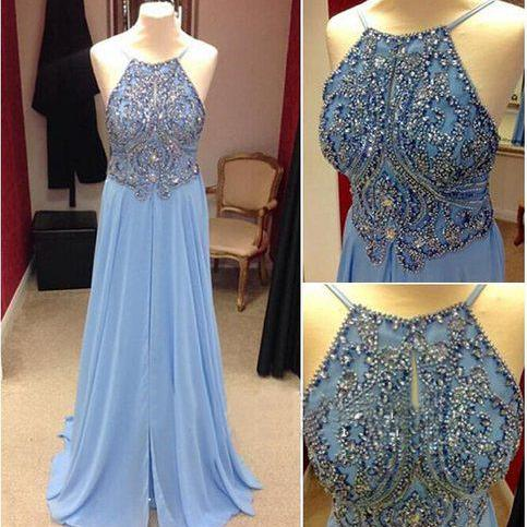 Open Back Long Chiffon Prom Dresses with Crystals Floor Length Party Dresses Custom Made Women Dresses