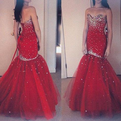 Mermaid Tulle Prom Dresses Crystals Beaded Floor Length Long Party Dresses Custom Made Women Dresses 2016