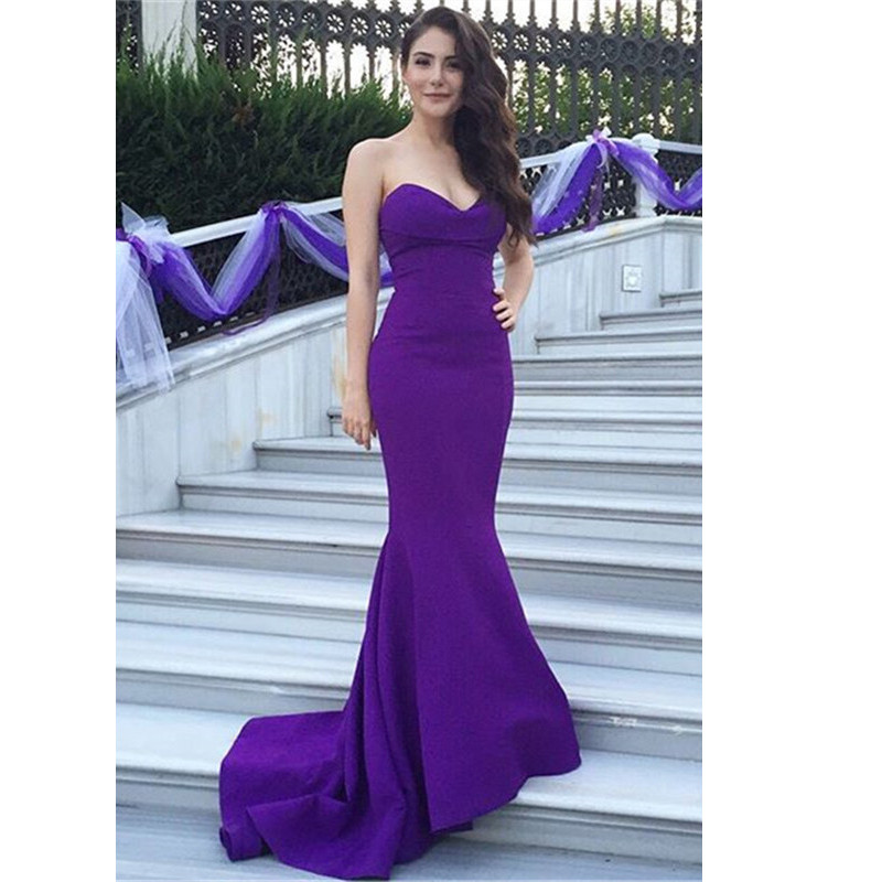 Dark Purple Mermaid Chiffon Prom Dresses Sweetheart Neck ...